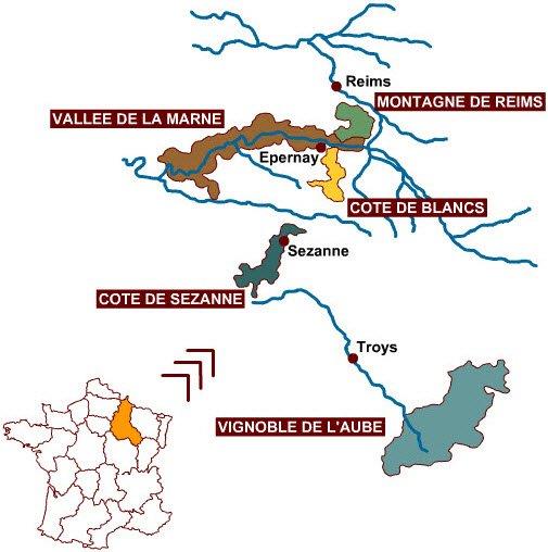 Champagne: Le principali zone dello Champagne.