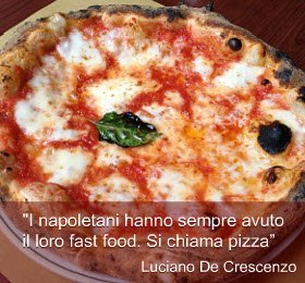 Luciano De Crescenzo. lo street food e la pizza.
