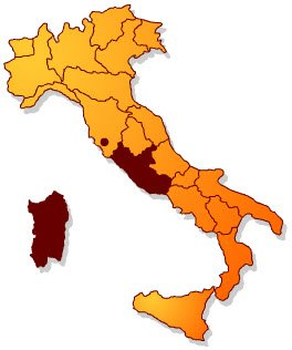 Pecorino Romano PDO: production areas.